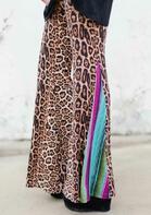 Leopard Serape Striped Splicing Wide Leg Pants