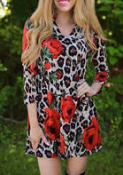 Rose Leopard V-Neck Three Quarter Sleeve Mini Dress