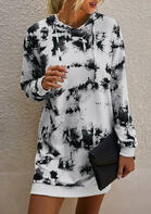 Tie Dye Pocket Drawstring Hooded Mini Dress