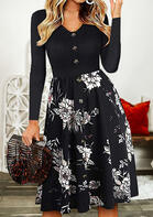 Floral Splicing Ruffled Button V-Neck Casual Dress