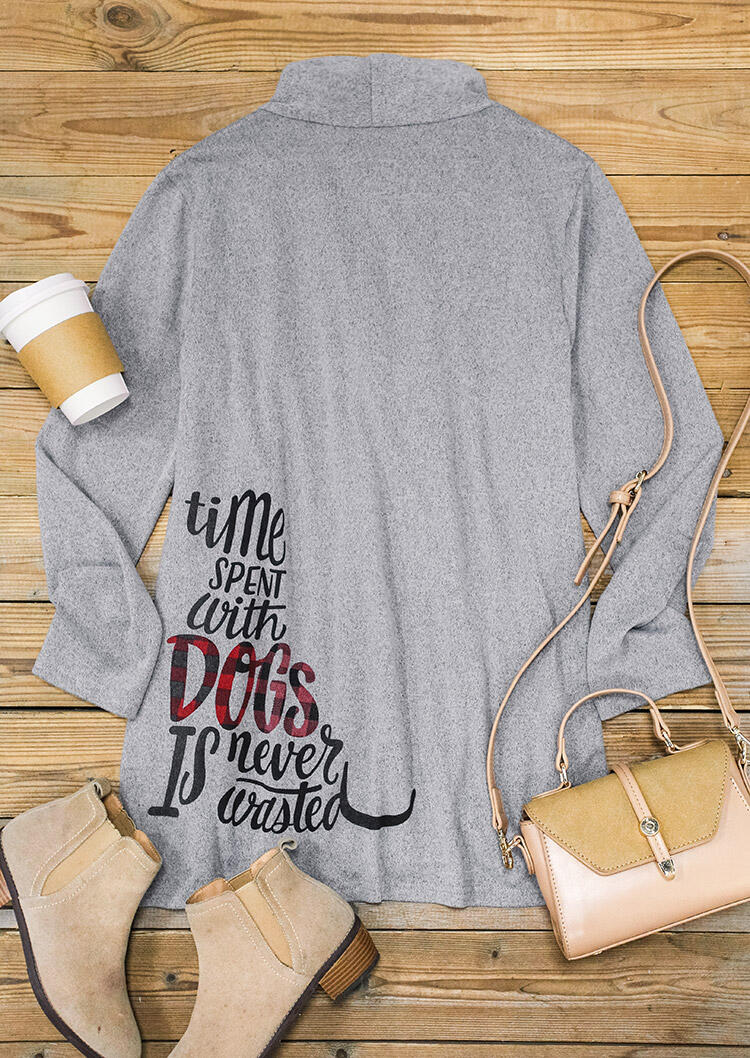 Time Spent With Dogs Is Never Wasted Plaid Cardigan - Gray