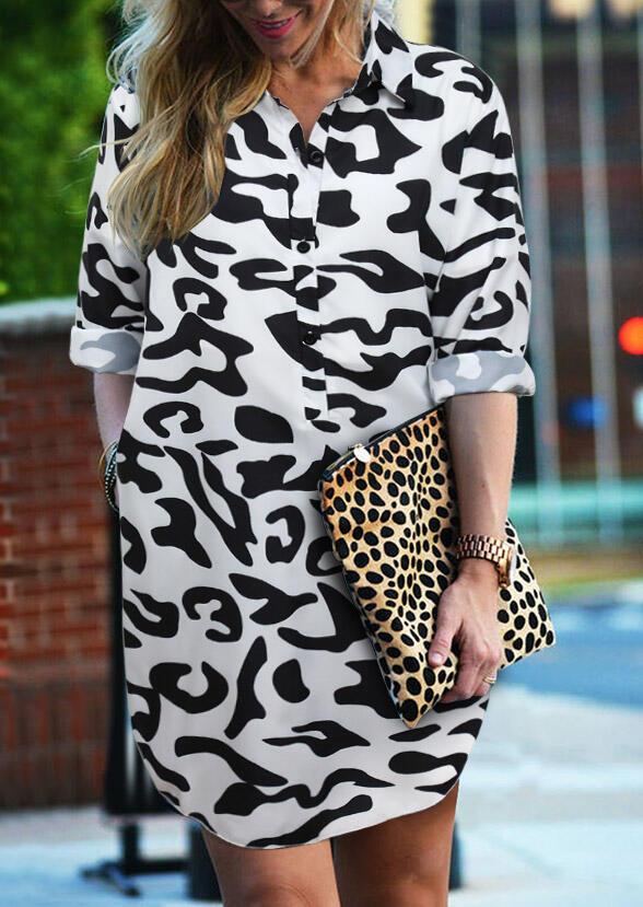 Leopard Button Long Sleeve Asymmetric Mini Dress