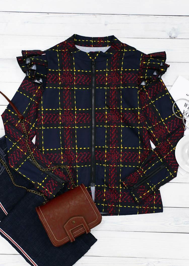 Plaid Ruffled Zipper Long Sleeve Coat
