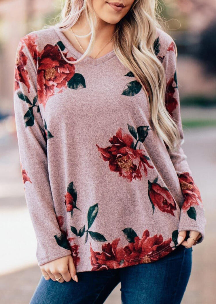 Floral Splicing V-Neck Long Sleeve Blouse - Cameo Brown