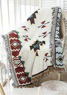 Aztec Geometric Tassel Sofa Towel Woven Blanket