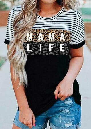 Leopard Striped Splicing Mama Life O-Neck Blouse - Black