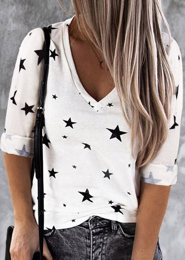 Star V-Neck Long Sleeve Casual Blouse - White