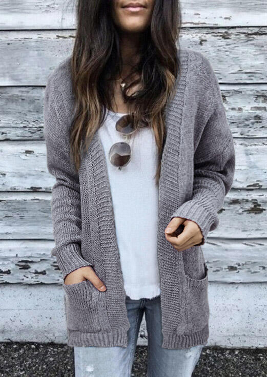 Pocket Knitted Open Front Sweater Cardigan - Gray