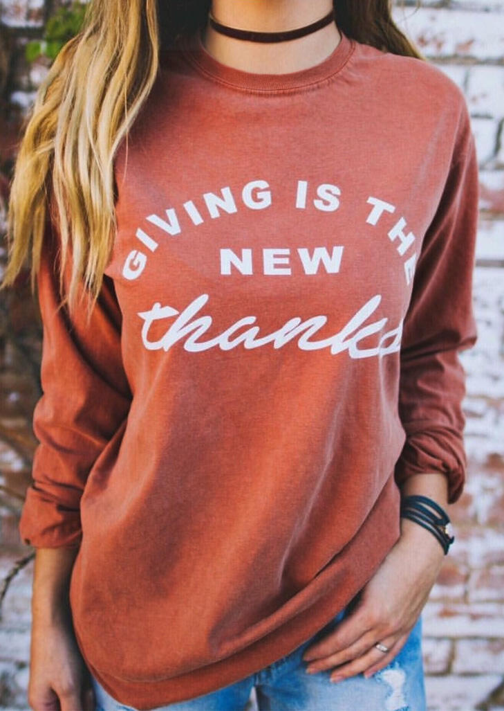 Thanksgiving Giving Is The New Thanks T-Shirt Tee - Brick Red