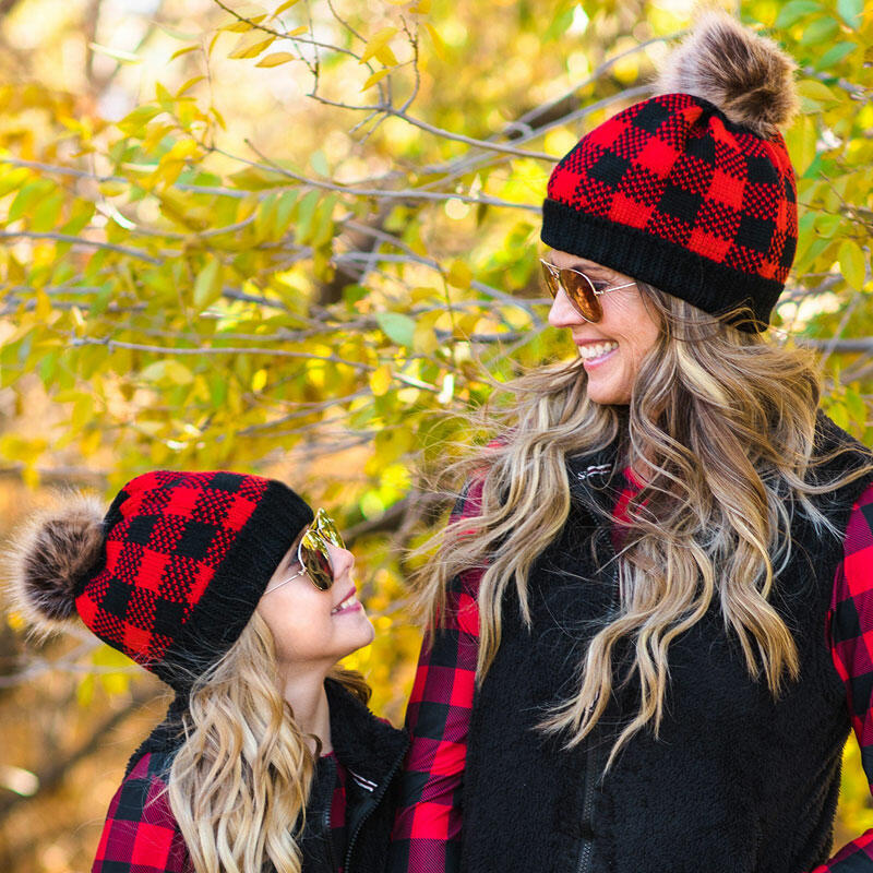 Fairyseason coupon: Buffalo Plaid Winter Warm Knitted Hairball Beanie Hat