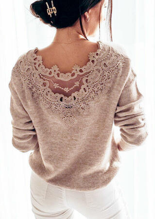 Lace Splicing Hollow Out Long Sleeve Sweater - Light Brown