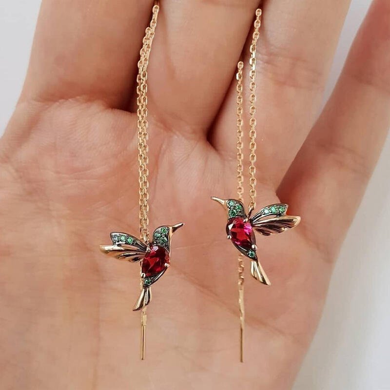 Fairyseason coupon: Hummingbird Rhinestone Stud Threader Long Drop Earrings