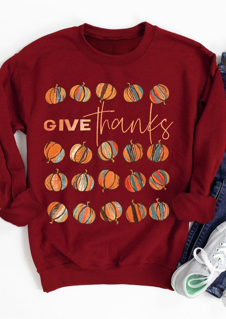 Fairyseason coupon: Thanksgiving Give Thanks Pumpkin Pullover Sweatshirt - Burgundy