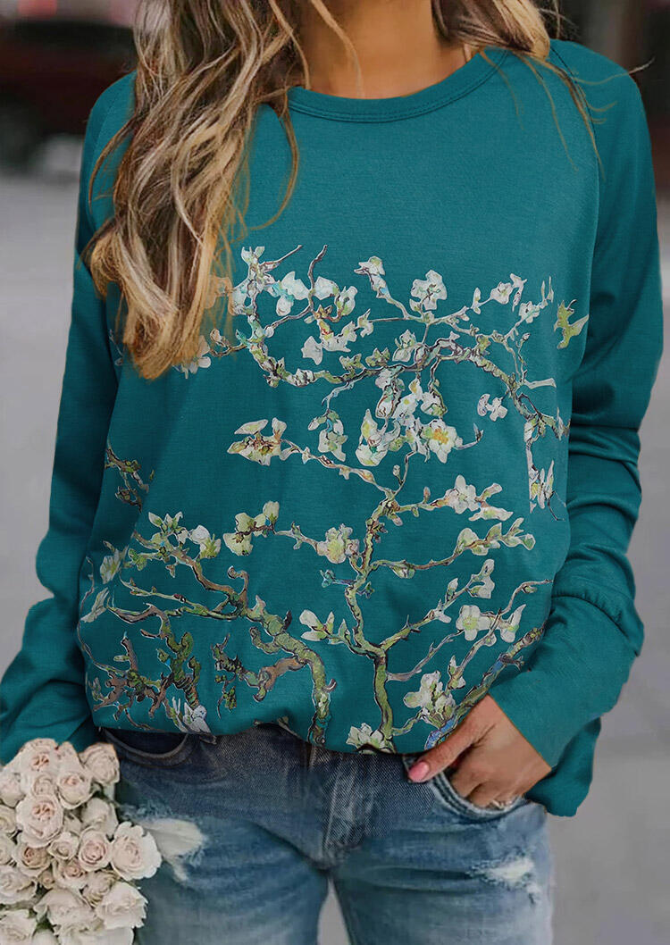 Tree Floral Painting Raglan Sleeve Blouse - Green