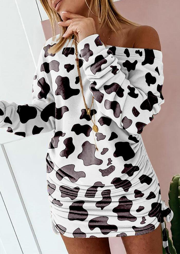 Fairyseason coupon: Cow Drawstring Tie Ruched Long Sleeve Mini Dress - White