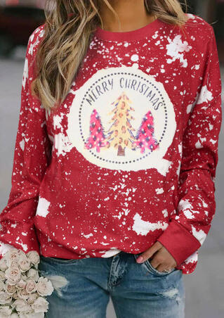 Merry Christmas Tree Leopard Plaid Bleached Sweatshirt - Red