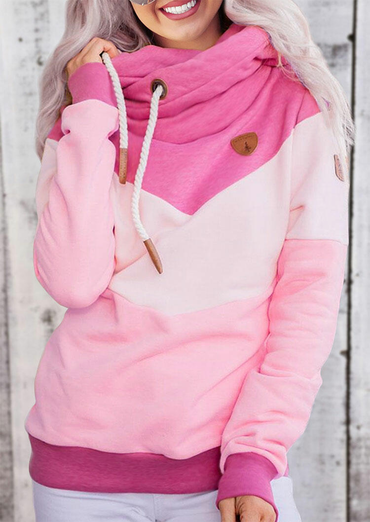 Color Block Drawstring Long Sleeve Pullover Hoodie - Pink