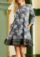 Floral Ruffled Pocket Mini Dress