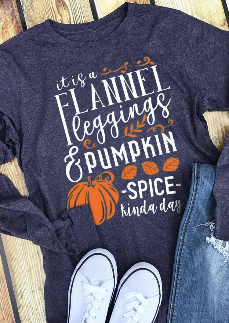 Thanksgiving Pumpkin Spice Leaf Letter T-Shirt Tee - Blue
