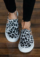 Leopard Zipper Splicing Button Slip On Flat Sneakers