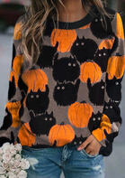 Halloween Black Cat Pumpkin Pullover Sweatshirt