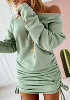Ruched Drawstring Long Sleeve Bodycon Dress