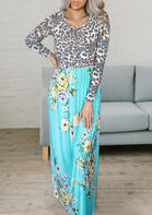 Leopard Floral Splicing Ruffled Maxi Dress