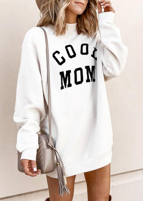 Cool Mom Long Sleeve Loose Mini Sweatshirt Dress - White