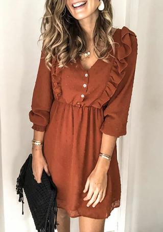 Ruffled Button ElasticCuff Mini Dress - Brown