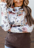 Floral Splicing Drawstring Cowl Neck Pullover Sweatshirt