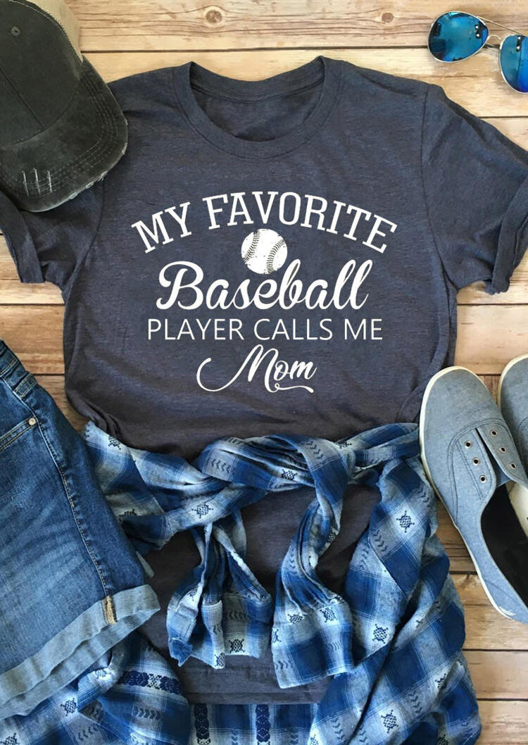 My Favorite Baseball Player Calls Me Mom T-Shirt Tee - Navy Blue