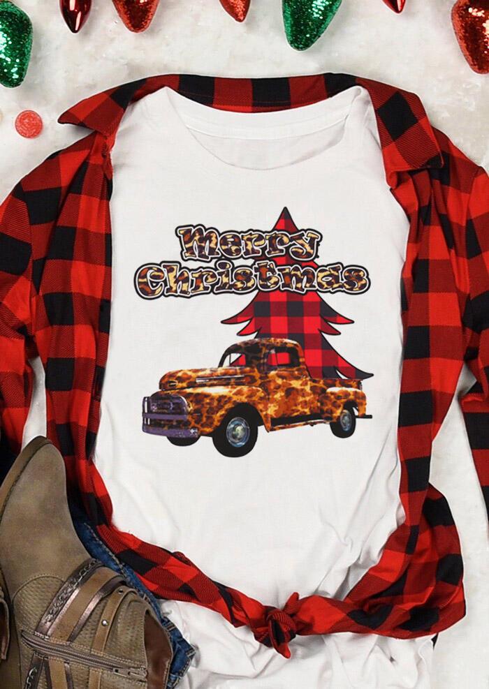 Merry Christmas Leopard Truck Buffalo Plaid Tree T-Shirt Tee - White