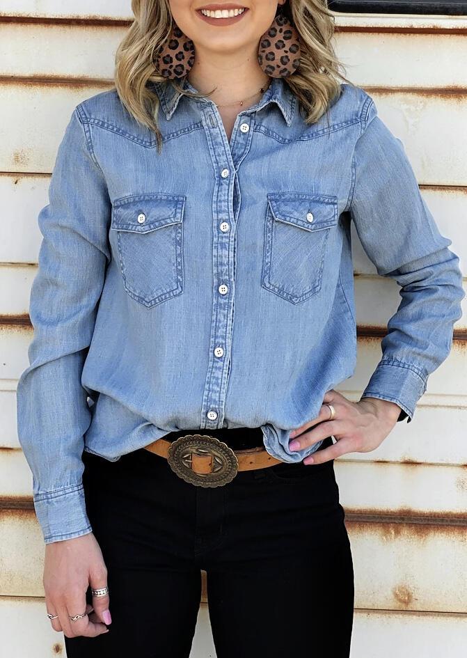 Button Pocket Long Sleeve Denim Shirt - Blue