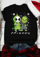 Christmas Grinch And Jack Skellington Snowflake T-Shirt