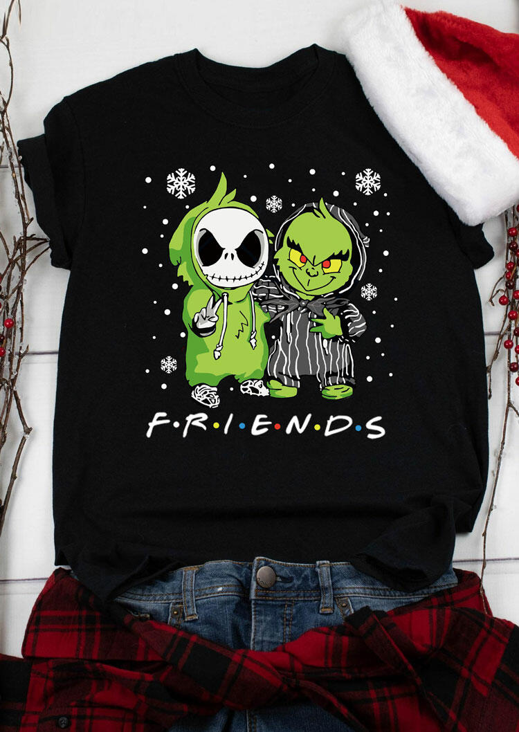 Christmas Friends Grinch And Jack Skellington T-Shirt Tee - Black