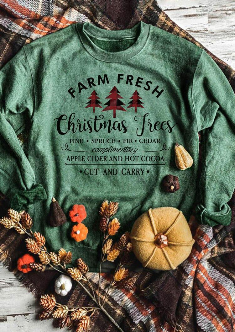 Farm Fresh Christmas Trees Plaid Sweatshirt - Green