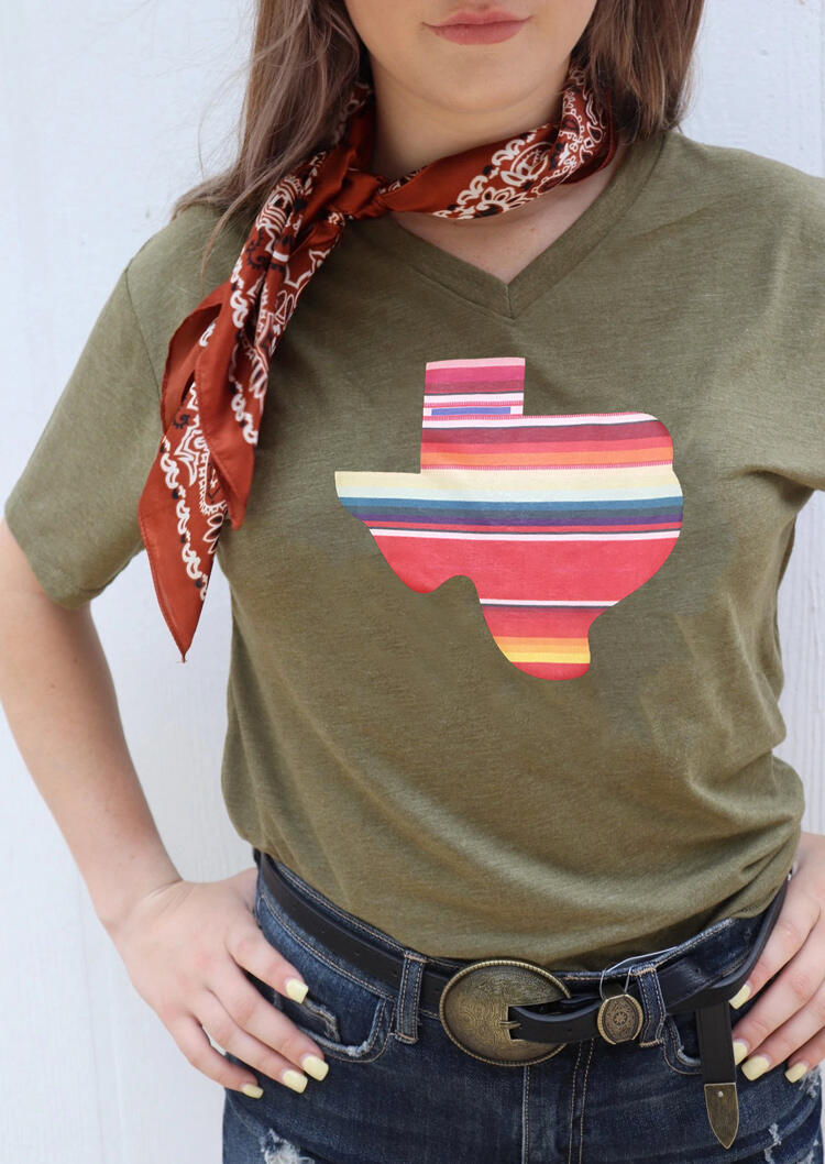 Serape Striped Texas T-Shirt Tee without Scarf - Army Green