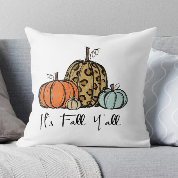 Thanksgiving It's Fall Y'all Leopard Pumpkin Pillowcase without Pillow
