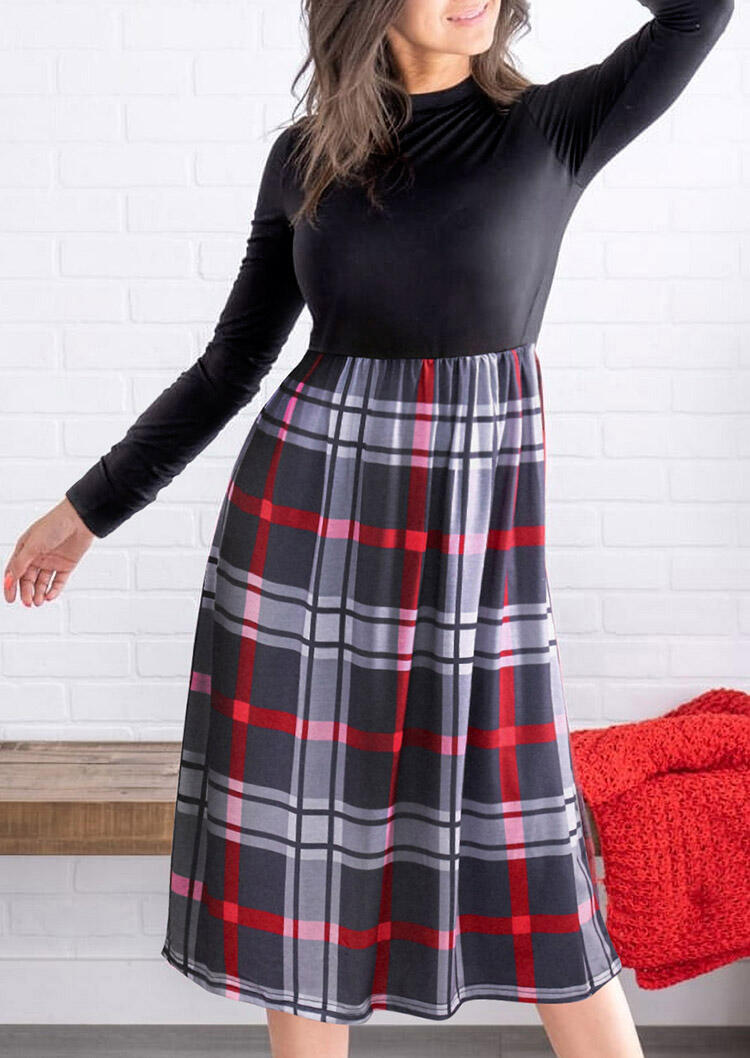 Plaid Splicing Long Sleeve O-Neck Casual Dress - Black