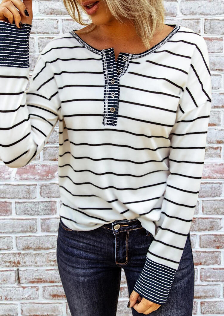 Striped Splicing Button Long Sleeve Blouse - White