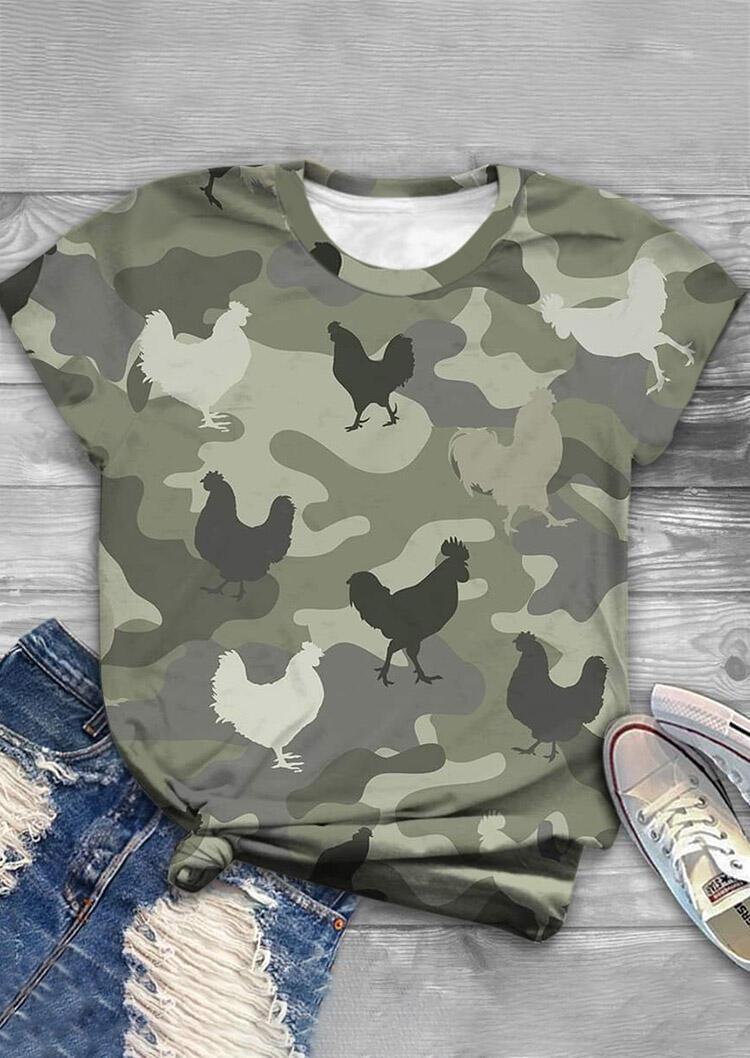 Thanksgiving Camouflage Turkey O-Neck T-Shirt Tee