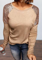 Sequined Splicing O-Neck Long Sleeve Blouse