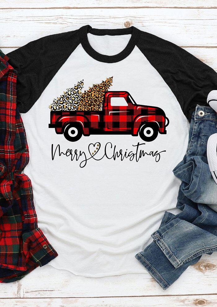 Fairyseason coupon: Merry Christmas Leopard Tree Buffalo Plaid Truck T-Shirt Tee - White