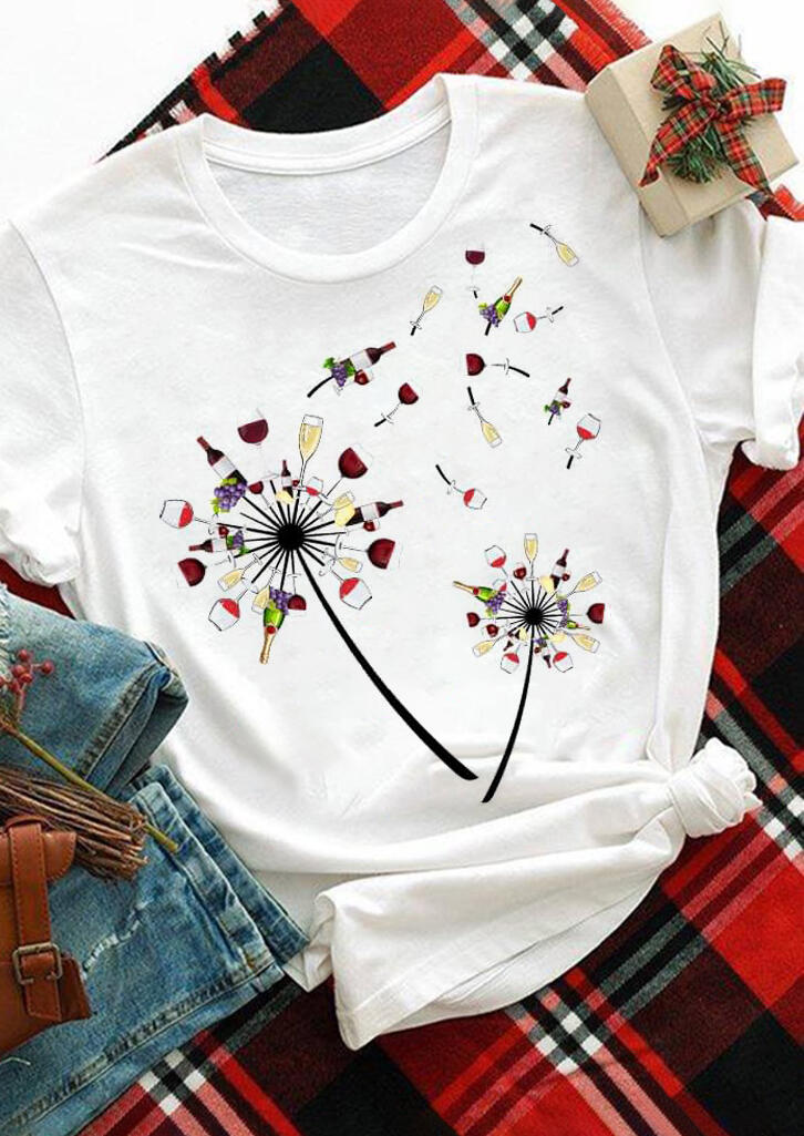 Wine Dandelion O-Neck T-Shirt Tee - White