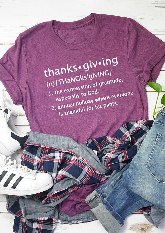 Fairyseason coupon: Thanksgiving The Expression Of Gratitude Letter T-Shirt Tee - Purple