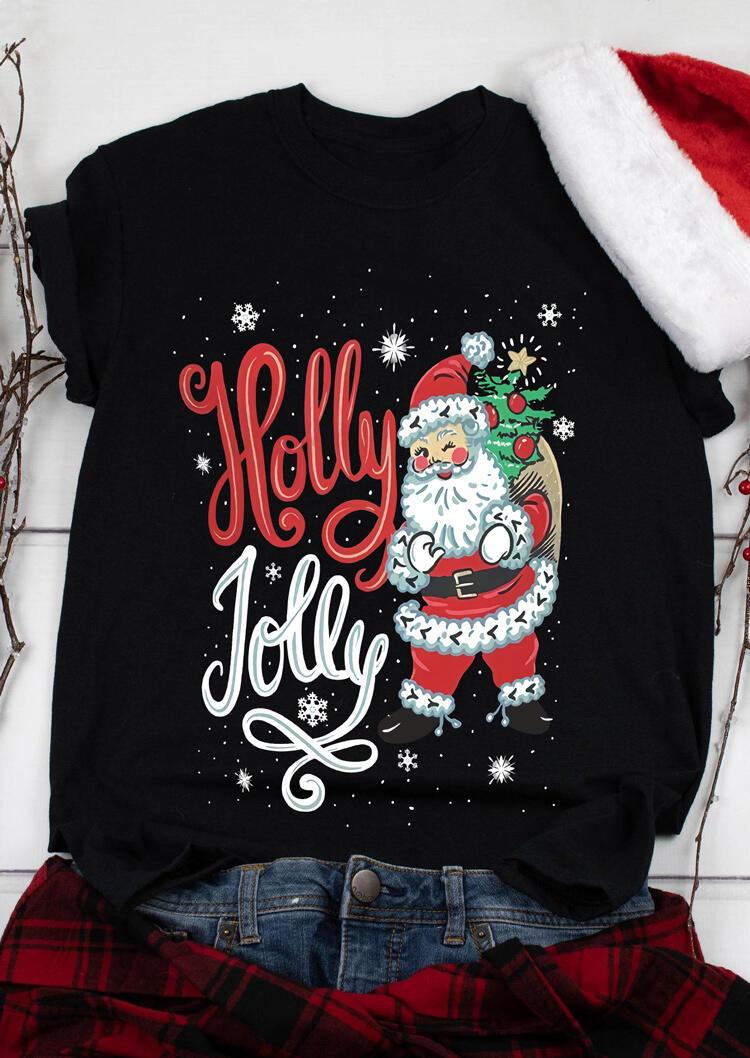 Christmas Holly Jolly Santa Claus Snowflake T-Shirt Tee - Black