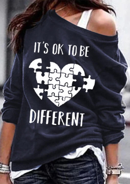Slogan Graphic O-Neck Long Sleeve Sweatshirt without Camisole - Navy Blue