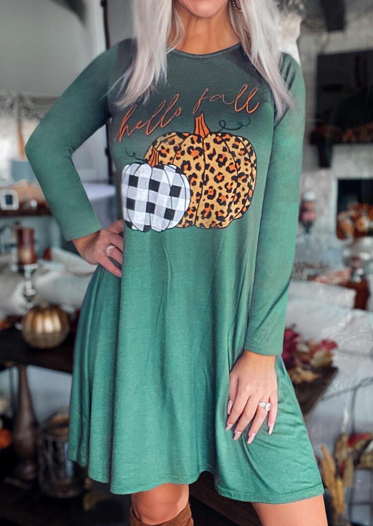 Leopard Plaid Pumpkin Hello Fall Mini Dress - Green
