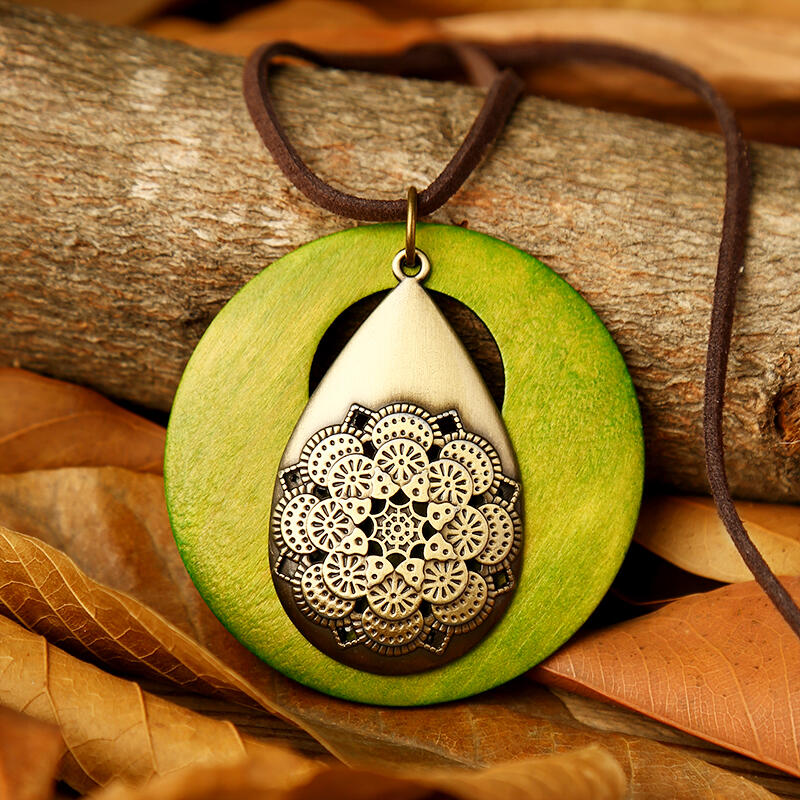 Mandala Water Drop Hollow Out Sweater Chain Necklace