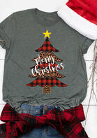 Merry Christmas Plaid Leopard Star Tree T-Shirt